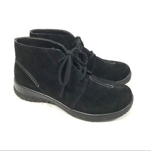 DREW suede leather lace up boots Krista black